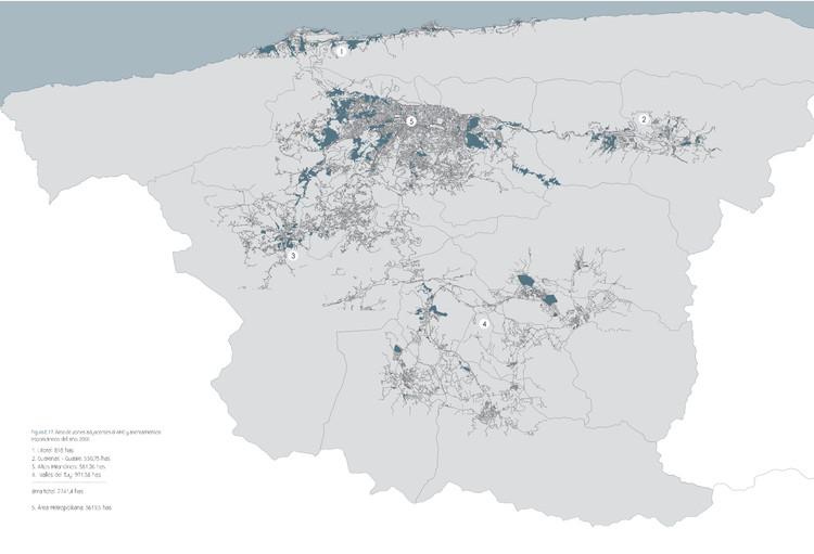 Mapa del Caracas y ciudades satélites Guarenas, Guatire, Altos Mirandinos, Valles del Tuy y Vargas. Image © Enlace Arquitectura