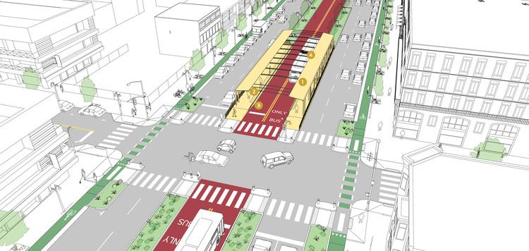 3 prototipos de paraderos de buses que favorecen la movilidad sustentable, © NACTO