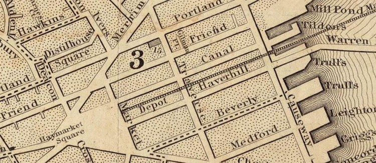 Boston By Bulfinch, Image: Detail from 1844 map showing the Bulfinch Triangle in Boston, George W. Boynton, credit: NewtonCourt​, Creative Commons License, modified.