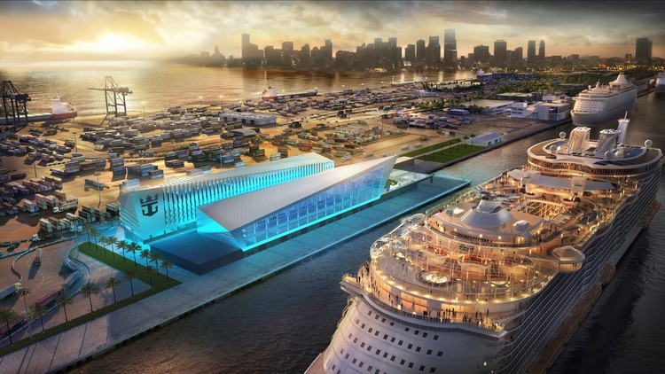 "Broadway Malyan Designs $100 Million ""Crown of Miami"" Cruise Terminal , Courtesy of Broadway Malyan"