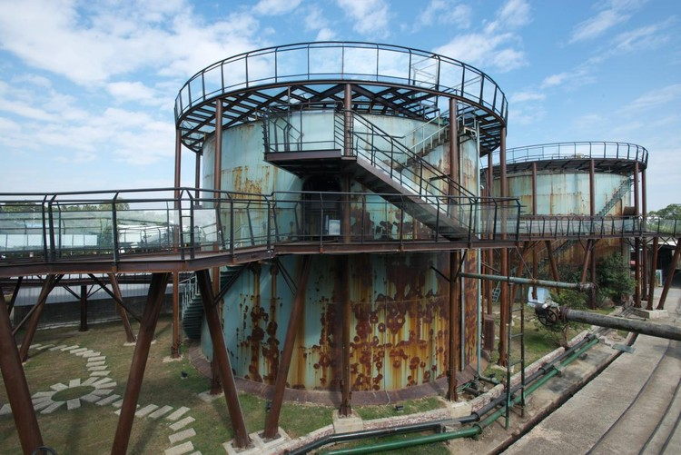 NEW AND OLD: S. T. Yeh Architect, Re-born from ruins into culture Park, Tectonics of Ten Drum Sugar Factory, Tainan, Taiwan. Image via World Architecture Festival