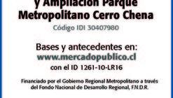 Licitación pública: 'Diseño mejoramiento y ampliación parque metropolitano Cerro Chena'