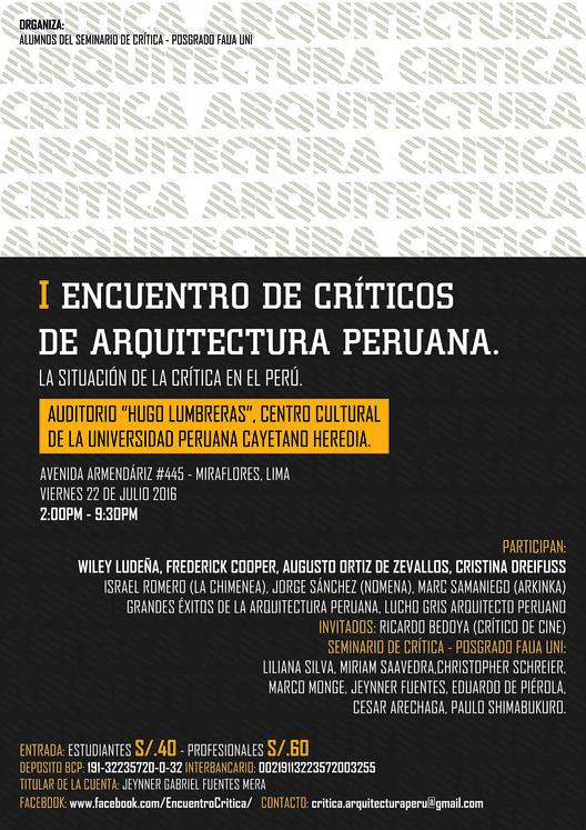 I Encuentro de críticos de la arquitectura peruana. La situación de la crítica en el Perú / Auditorio Hugo Lumbreras, Cortesía de Christopher Schreier