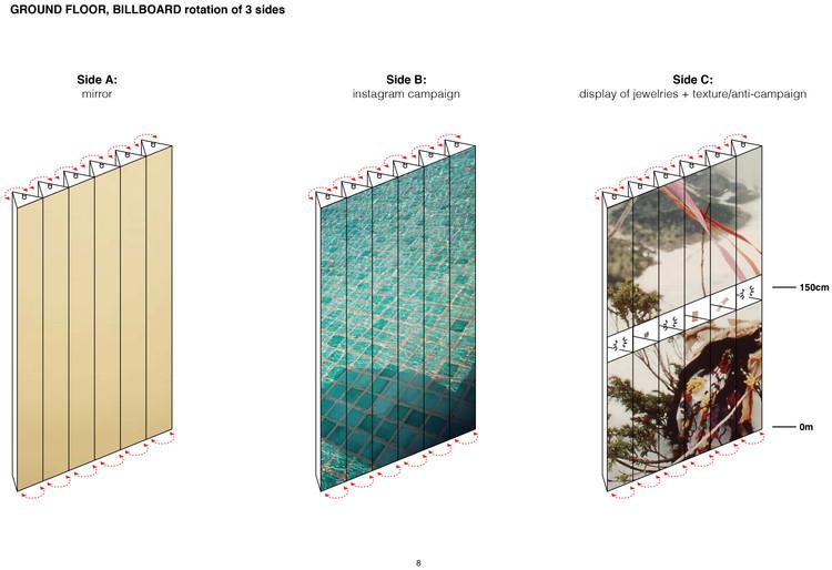 © OMA. Vitrina planta baja y vitrina mecánica
