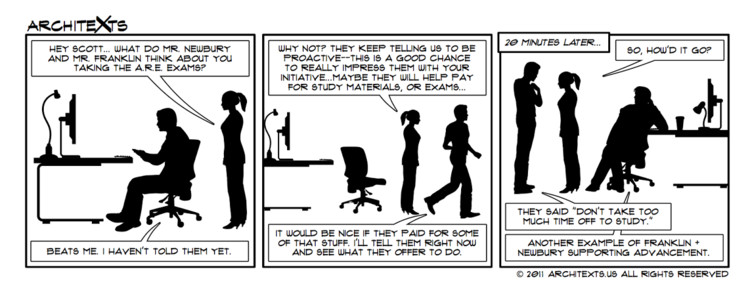 "Comic Break: ""Taking the AREs: Employer Support"", Courtesy of Architexts"