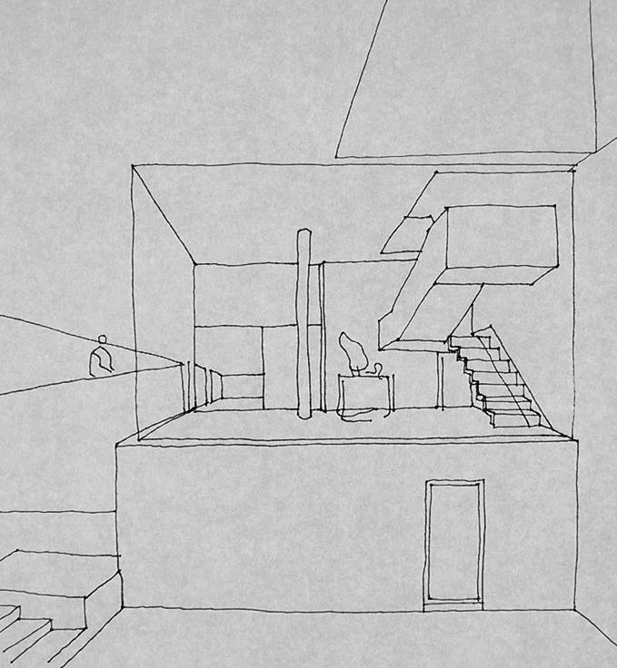 Croquis en perspectiva de la escalera en Casa Curutchet enviada por LC a AW el 22-09-1949, luego de que Amancio propusiera el cambio para el vestíbulo. Image © Archivo Williams - Director Claudio Williams