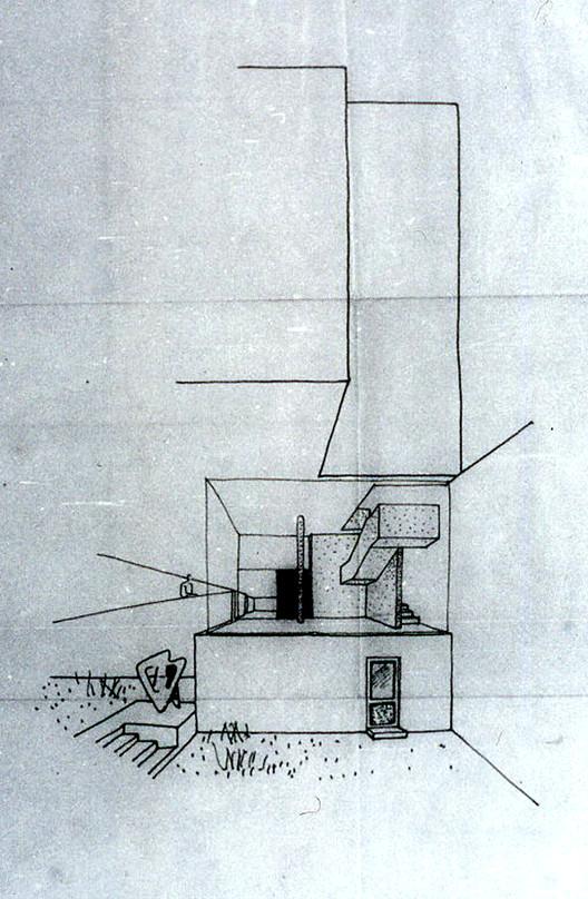 Croquis en perspectiva de la propuesta de vestíbulo por Amancio Williams. Image © Archivo Williams - Director Claudio Williams