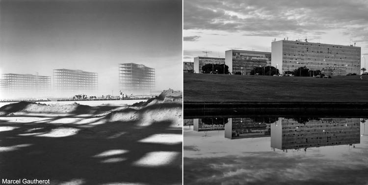 Cuanto cambió Brasilia en 56 años, según los fotógrafos Marcel Gautherot y Gonzalo Viramonte, Esplanada dos Ministérios. Imágenes © Marcel Gautherot e Gonzalo Viramonte