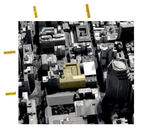 Edificio Carrillón. Merced 641, Ayacucho 648. Elaboración del autor en base a imagen satelital