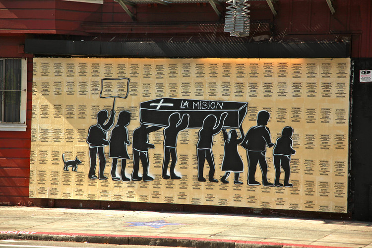Mural no Mission District sinaliza gentrificação. Image © torbakhopper, via Flickr. CC