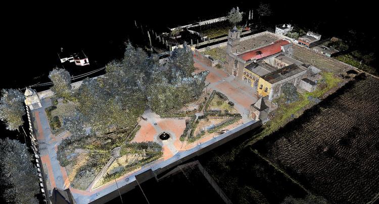 Imagen contextual en nube de puntos láser del Ex Convento de Calpan, Puebla. Image Cortesía de INAH