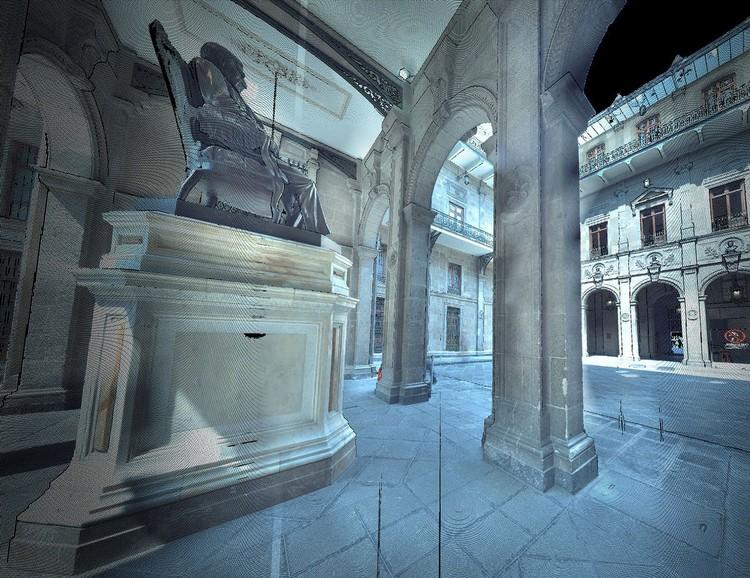 Imagen contextual en nube de puntos láser de uno de los Patios Marianos. Palacio Nacional. Image Cortesía de INAH