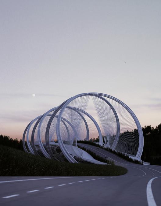 Penda diseña este puente en Beijing inspirándose en los anillos olímpicos, Cortesía de Penda