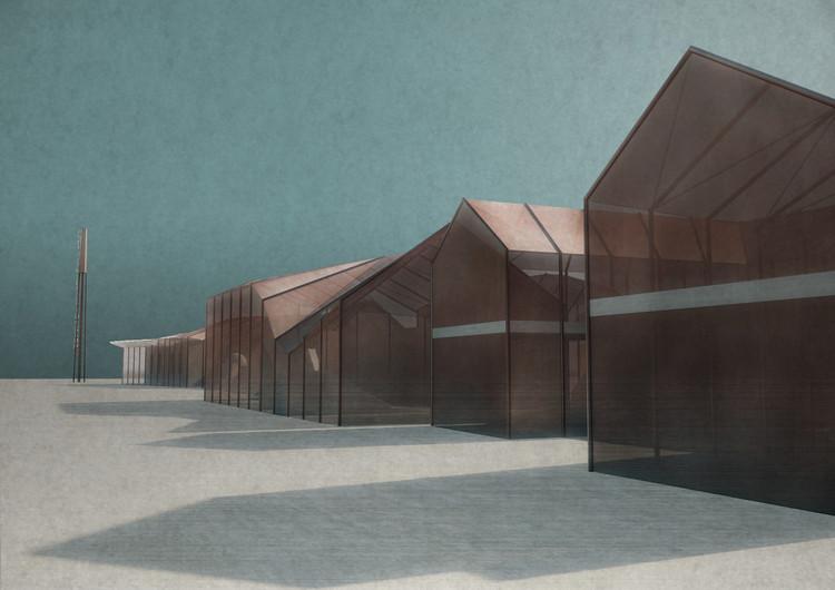 RE: diseña la extensión del Colegio de Arte de Chipre utilizando concreto y paneles de cobre, Cortesía de RE: