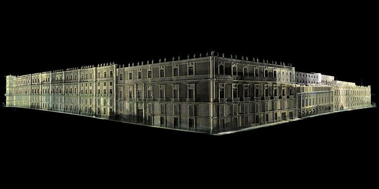 Imagen contextual en nube de puntos láser de la fachada de Palacio Nacional. Image Cortesía de INAH