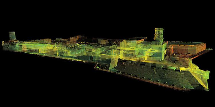 Crean acervo de 85 modelos en 3D del patrimonio arquitectónico y arqueológico de México, Imagen contextual en nube de puntos láser del Fuerte de San Juan de Ulúa, Veracruz. Image Cortesía de INAH