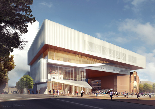 New Museum seen from Francis Street. Image Courtesy of HASSEL + OMA
