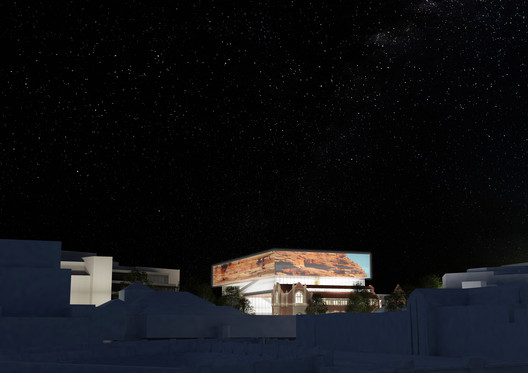New Museum with projections at night. Image Courtesy of HASSEL + OMA