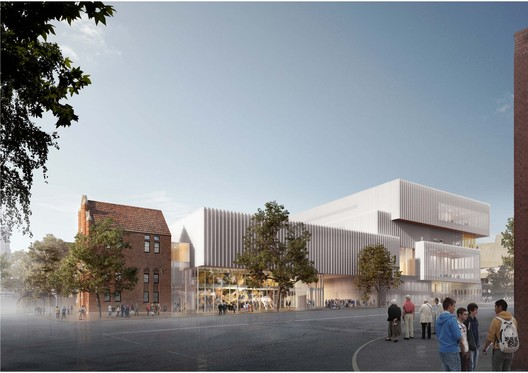 New Museum Francis Street façade. Image Courtesy of HASSEL + OMA