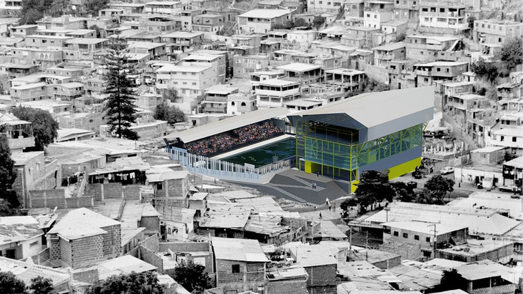 <a href='http://http://www.bbc.co.uk/news/magazine-16167971'>Gimnasios verticales en asentamientos informales en Caracas. Propuesta de Urban-ThinkTank</a>. Image © Urban-ThinkTank. Vía bbc.co.uk