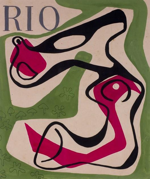 Un diseño de la cubierta para una publicación de 1953 de la revista Río. Burle Marx experimentó con nuevas formas en diferentes formatos, incluyendo obras de escultura, que a menudo integrados en sus diseños de paisaje. Imagen cortesía de Sitio Roberto Burle Marx, Río de Janeiro