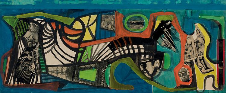 Una obra sin título en collage, hecha en 1967, ilustra diversas actividades artísticas de Burle Marx. Imagen cortesía de Sitio Roberto Burle Marx, Río de Janeiro