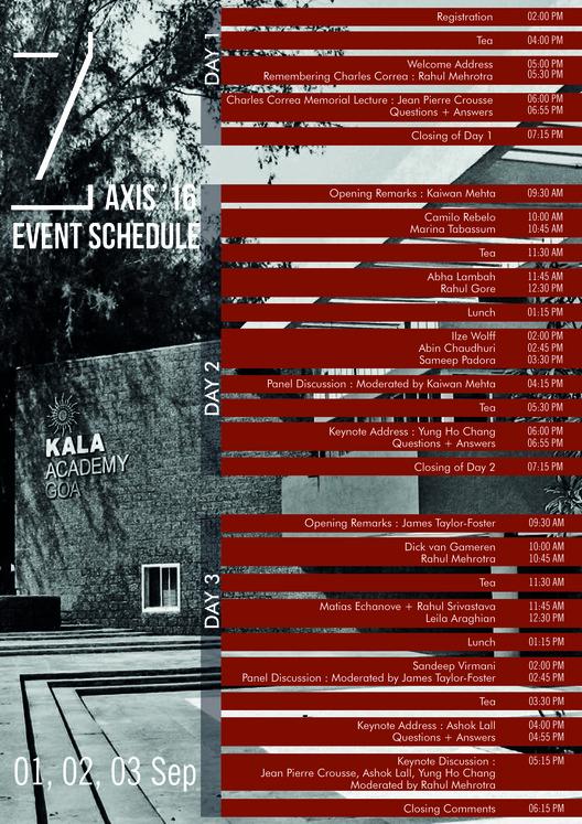 Calendario de Conferencias. Cortesía de Charles Correa Foundation