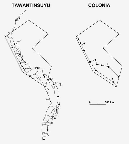 Diferencias en la conexión territorial durante el Tawantinsuyu y la Colonia. Fuente: Redibujado a partir de CEPLAN, INEI-OSTROM. Image Cortesía de Juan Manuel Del Castillo / Revista La Chimenea