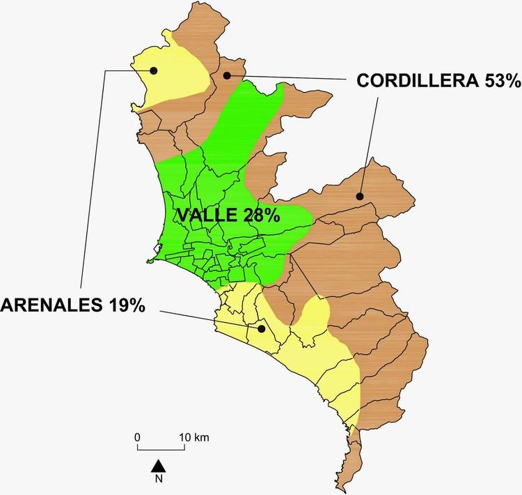 La naturaleza del suelo limeño. Fuente: S. Villacorta, Núñez, W. Pari, C. Benavente & L. Fídel (2012) - IMP (2008). Image Cortesía de Juan Manuel Del Castillo / Revista La Chimenea