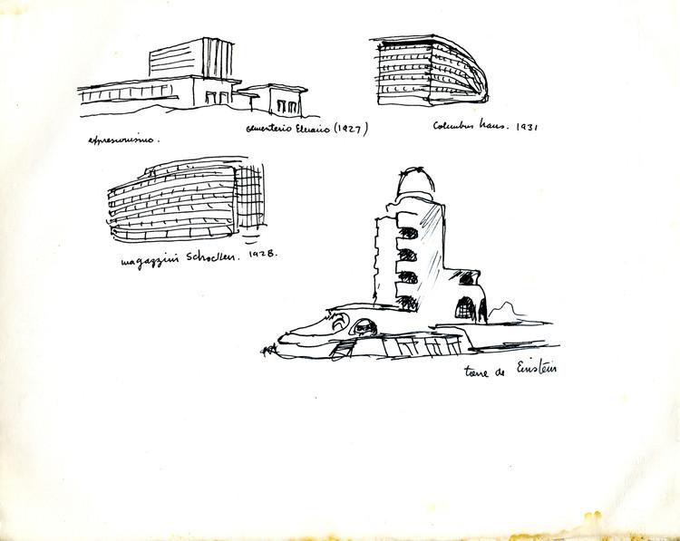 13 Germán Samper, cuaderno 7 con las notas del libro de Bruno Zevi, Historia de la arquitectura moderna. Capítulo 3, proyectos de Mendelsohn. Image © Archivo Personal Germán Samper (APGS)