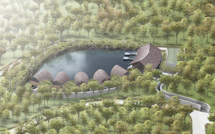 Vista desde el hotel. Imagen cortesía de Vo Trong Nghia Architects