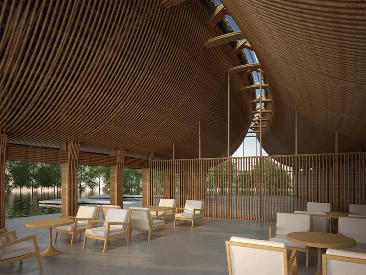 Interior del edificio principal. Imagen cortesía de Vo Trong Nghia Architects