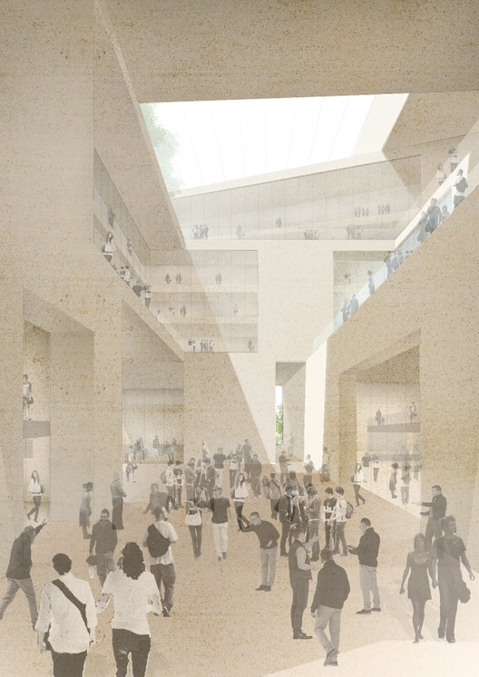 Stanton Williams & Lifschutz Davidson Sandilands Selected to Design UCL's Olympic Park Campus, Initial study for internal street. Image Courtesy of Stanton Williams