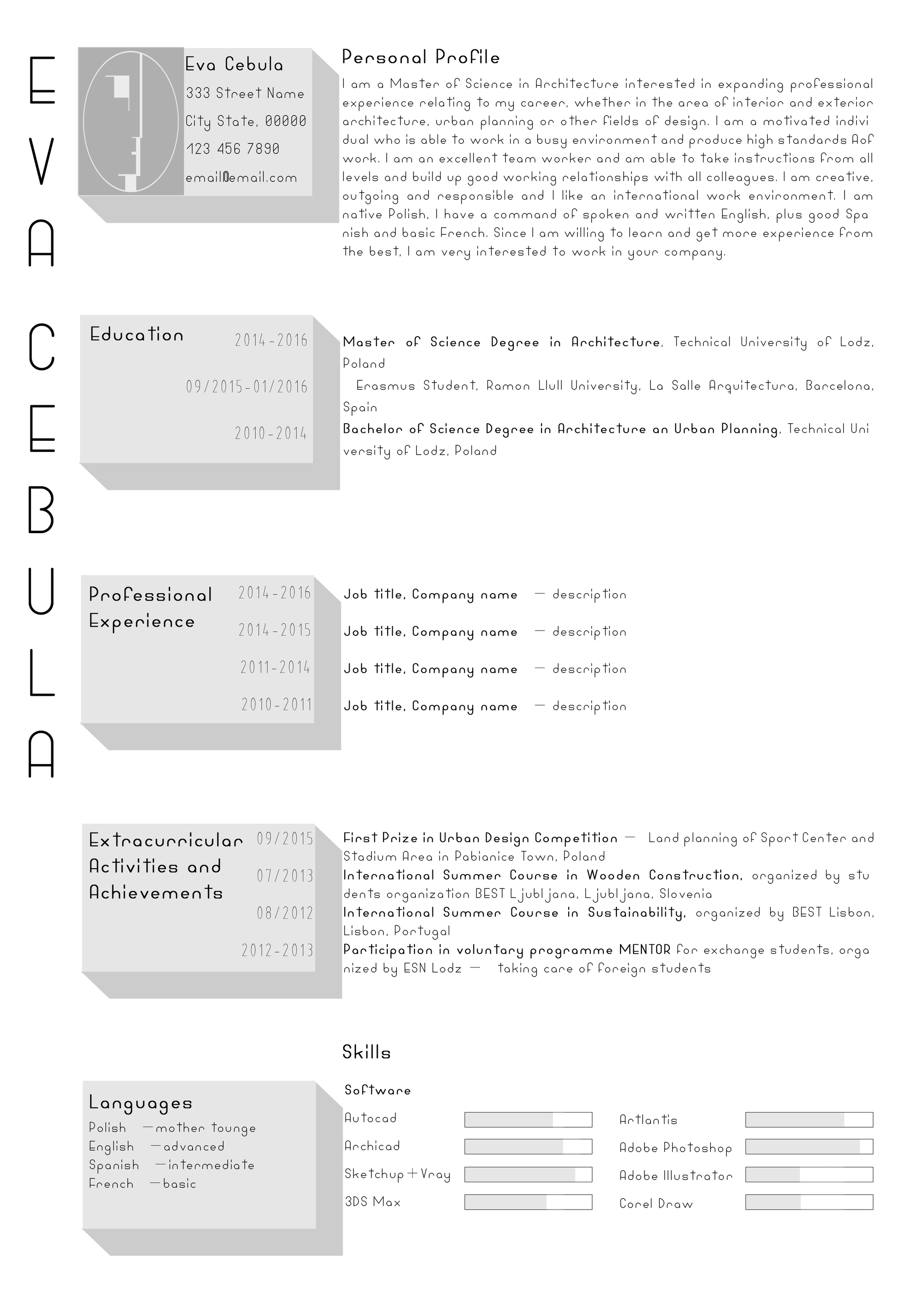 architecture student cv template