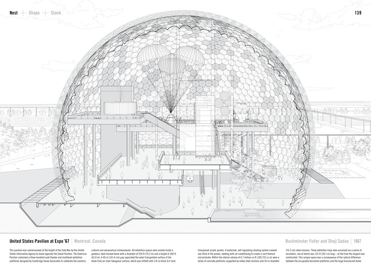 United States Pavilion at Expo '67 by Buckminster Fuller and Shoji Sadao (1967). Published in Manual of Section by Paul Lewis, Marc Tsurumaki, and David J. Lewis published by Princeton Architectural Press (2016). Image © LTL Architects