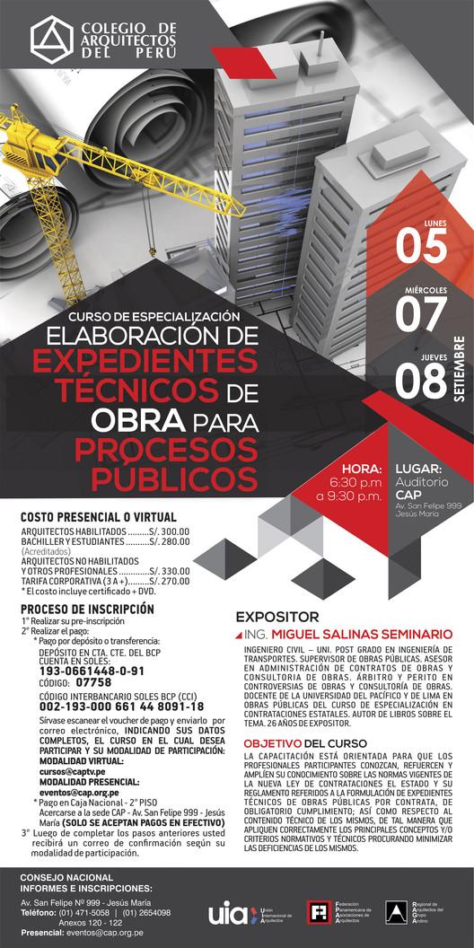Curso de especialización Elaboración De Expedientes Técnicos de obra para Procesos Públicos / CAP, Lima, Colegio de Arquitectos del Perú