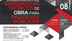 Curso de especialización Elaboración De Expedientes Técnicos de obra para Procesos Públicos / CAP, Lima