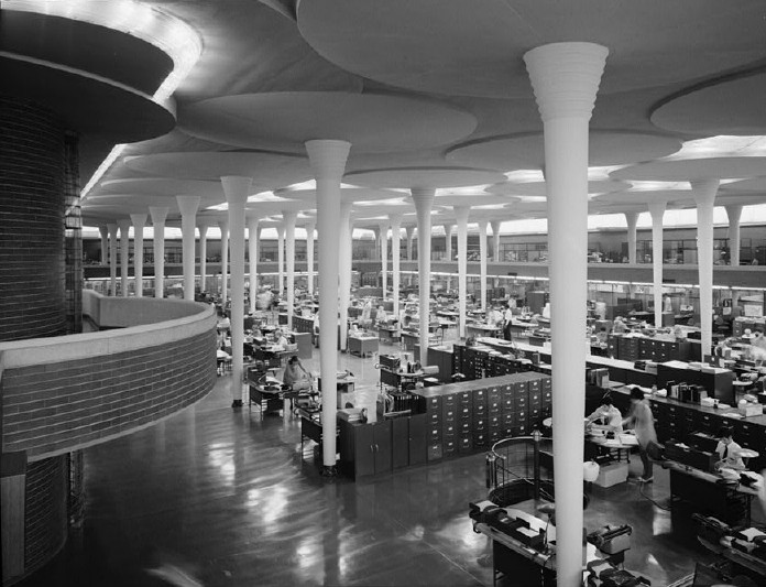 Johnson Wax / Frank Lloyd Wright. Image © Wikipedia. Licensed under Public Domain
