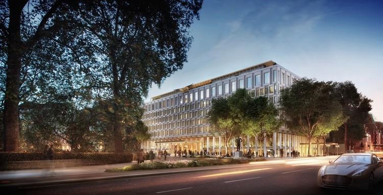 Chipperfield enfrenta críticas por reconversión de la embajada de Estados Unidos en Londres, © DBOX para Qatari Diar