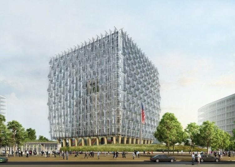 Diseño de Kieran Timberlake para la nueva embajada de Estados Unidos, cuya construcción debería finalizar en 2017.