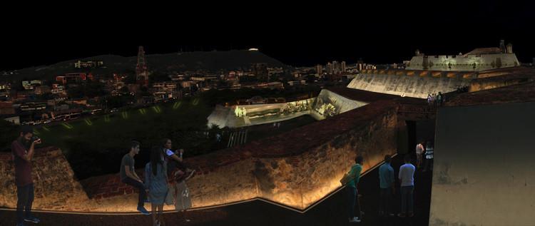 Conoce el tercer lugar en el concurso de iluminación del castillo San Felipe de Barajas en Cartagena, Estrategia lúdica-educativa. Vista norte. Image Cortesía de Equipo Tercer Lugar