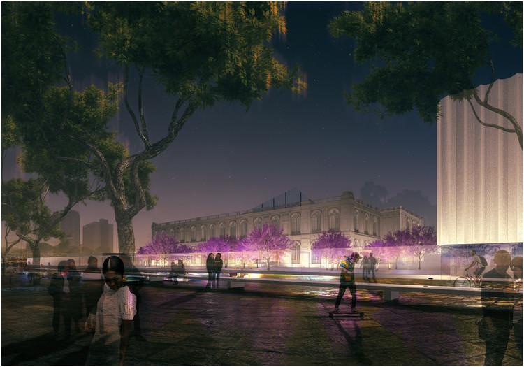 Exterior Patio & Pavilion. Burgos & Garrido + LLAMA Urban Design. Image Cortesía de Mariana Leguía