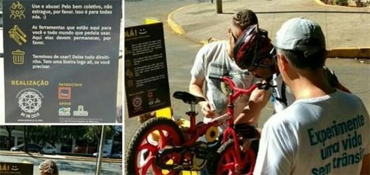 Belo Horizonte recebe primeira estação de reparo autônomo de bicicletas, Estação de reparo de bikes: a primeira de dez em BH. Image via BH em Ciclo/ Divulgação