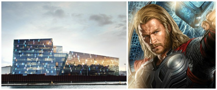 HARPA image courtesy of Henning Larsen Architects. Thor image © flickr user tales2astonish. Licensed under CC BY-SA 2.0.