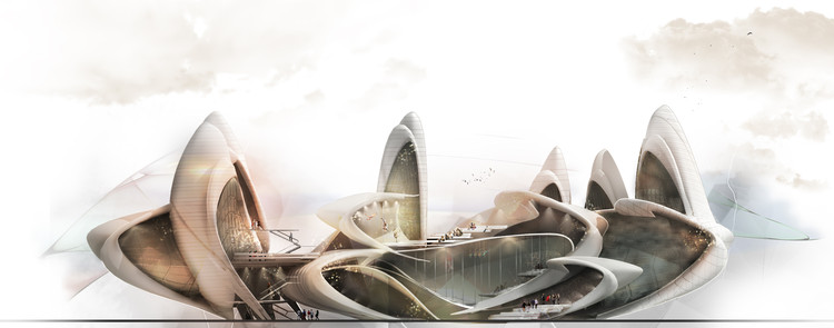 Diseño inspirado por alas de insectos gana el concurso para la escuela de circo de Moscú, Cortesía de Maryam Fazel y Belinda Ercan