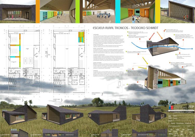 Escuela Los Troncos en Teodoro Schmidt / O+S Arquitectos. Image Cortesía de MINEDUC