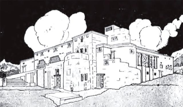Proy. Hotel en Machu Picchu. Emilio Harth Terré. Publicado en Cadelp N°05 (1933). Fuente: Ur[b]es N°03 (2006) p.221. Image Cortesía de Ur[b]es N°03 (2006)