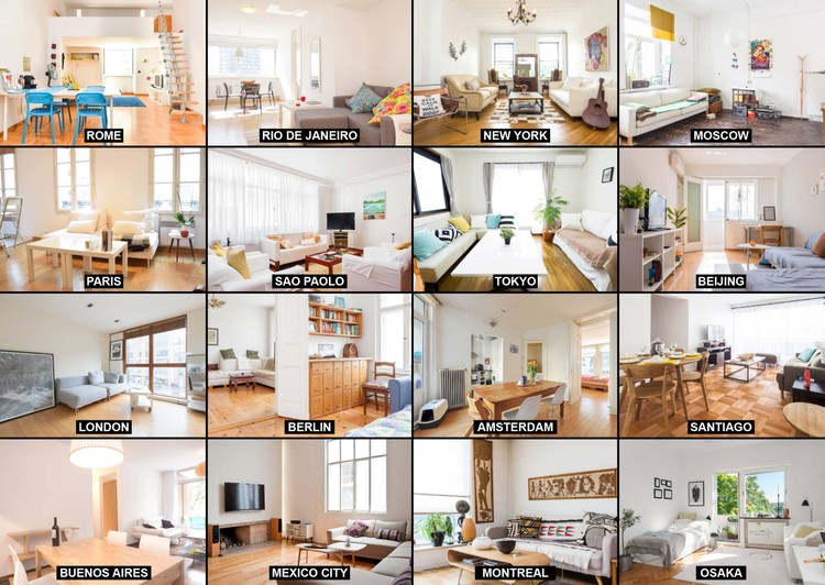 Airbnb listings from cities around the world. Image Courtesy of OMA & Bengler