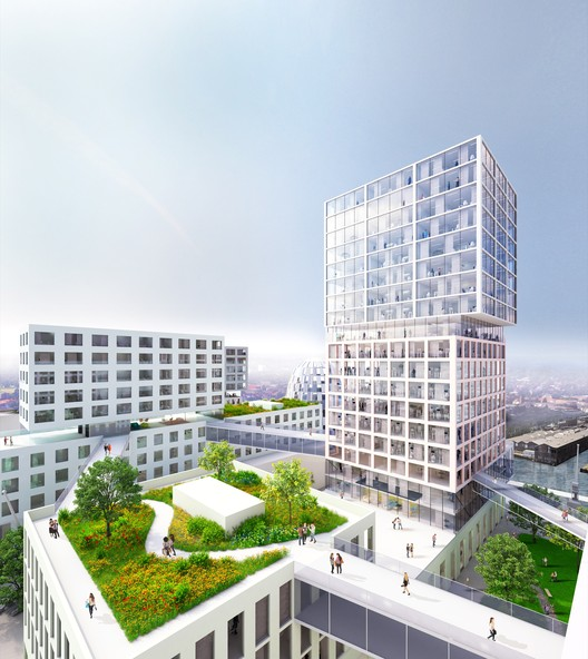 The roofs of some buildings are partly green and partly used for terraces and solar cells.. Image Courtesy of MVRDV