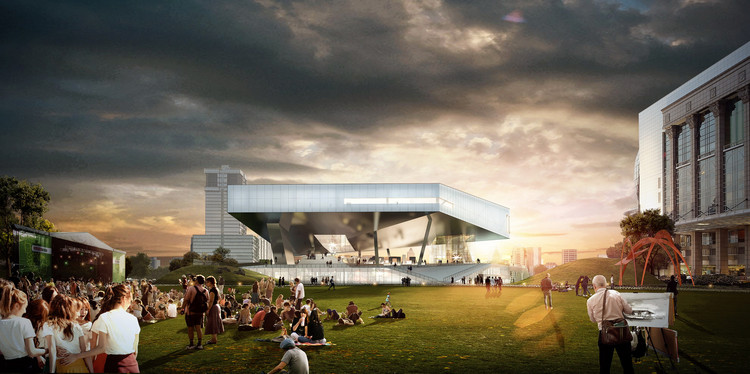 OPEN, SANAA, Jean Nouvel & David Chipperfield Shortlisted in Competition for Pudong Art Museum in Shanghai, Rendering 03_ View from Park